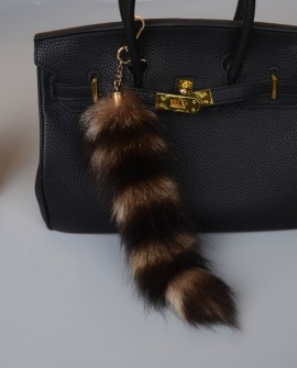 American Raccoon Fur Tail Pendant Bag Charm