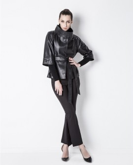 Belt Sheep Leather Cropped Jacket