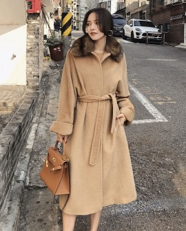 Belted Long Woolen Coat with Sable Fur Trimmed Collar
