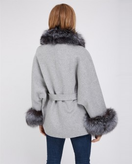 Cashmere Cape Jacket with Silver Fox Fur Trimming