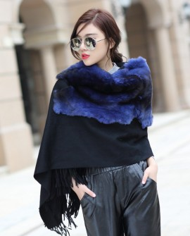 Cashmere Cape with Rex Rabbit Fur Trim