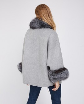 Cashmere Cardigan Cape with Silver Fox Fur Trimming