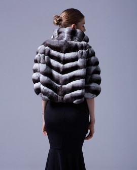 Chinchilla Fur Cropped Jacket Bolero Cape
