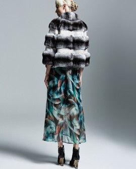 Chinchilla Fur Jacket with Python Skin Stripes Trim