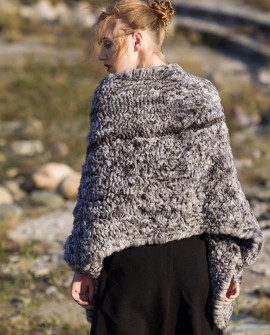 Chinchilla Fur Knitted Cape