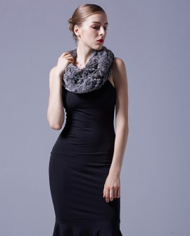 Chinchilla Fur Knitted Wrap Neckwarmer