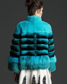 Chinchilla Fur Mink Fur Jacket with Fox Fur Trim