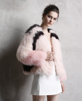 Cropped Fox Fur Knitted Jacket
