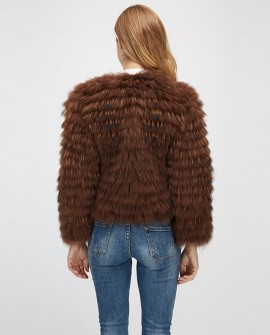 Cropped Raccoon Fur Jacket