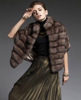 Cropped Sable Fur Cape Jacket