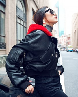 Cropped Sheep Leather Jacket with Hood