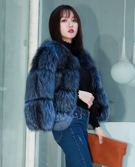 Cropped Silver Fox Fur Jacket in Blue