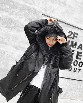 Detachable Fox Fur Liner Parka with Zipped Hood
