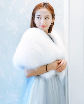 Fox Fur Capelet-White