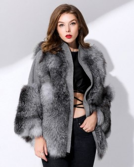 Silver Fox Fur Coat with Double-Sided Wool Trim