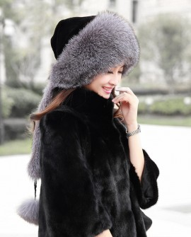 Fox Fur Hat with Fur Tails