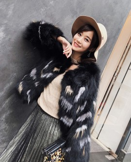 Cropped Fox Fur Jacket | Black and Green