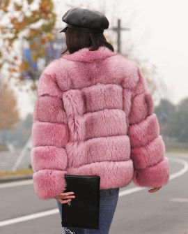 Fox Fur Jacket in Pink