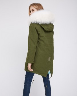 Fox (Raccoon) Fur Lined Parka with Raccoon Fur Trimmed Hood