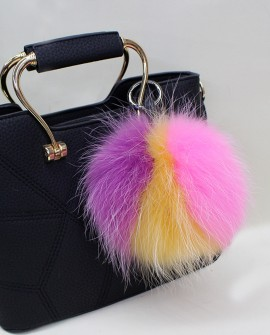 Fox Fur Pompoms Pendant Bag Charm - Multicolored