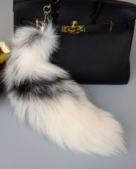 Cross Fox Fur Tail Pendant Bag Charm