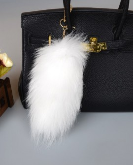 White Fox Fur Tail Pendant Bag Charm