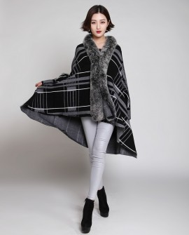 Fox Fur Trimmed Cardigan Cape