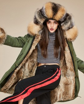 Fox Fur Trimmed Hooded Parka with Detachable Rabbit Fur Liner