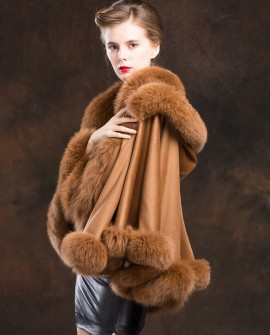 Fox Trimmed Cashmere Cape with Hood-Camel