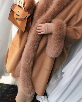 Hooded Cashmere Poncho Coat with Fox Fur Trim