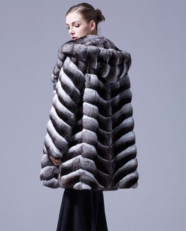 Hooded Chinchilla Fur Coat