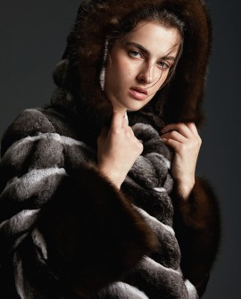 Hooded Chinchilla Fur Coat with Sable Fur Trimming