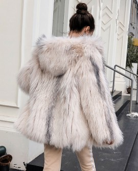 Hooded Knitted Fox Fur Jacket