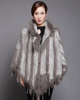 Hooded Knitted Rabbit Fur Pullover Cape with Raccoon Fur trim
