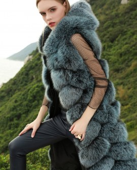 Hooded Long Fox Fur Vest