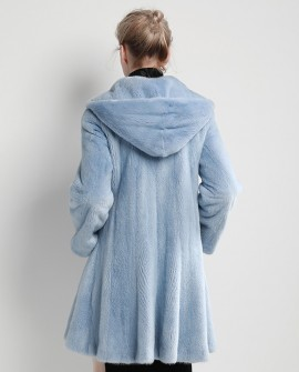 Hooded Mink Fur Coat