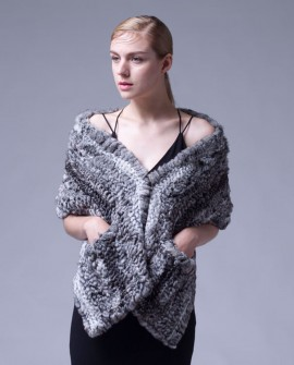 Knitted Chinchilla Fur Shawl Cape