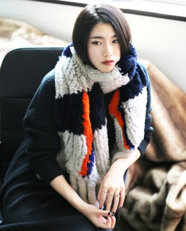 Knitted Rex Rabbit Fur Shawl