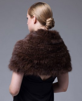 Knitted Sable Fur Capelet Infinity Scarf