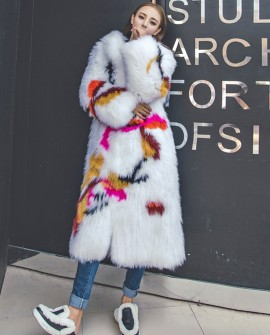 Long Length Knitted Fox Fur Coat