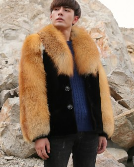 Men's Black Mink Fur Jacket with Red Fox Fur Collar and Sleeves