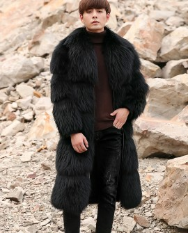 Men's Raccoon Fur Long Coat