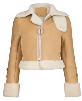 Merino Shearling Sheepskin Cropped Biker Jacket