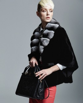 Mink Fur Batwing Cape with Chinchilla Fur Collar