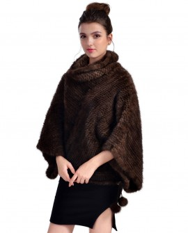 Mink Fur Knitted Poncho