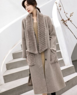 Mink Fur Trimmed Cashmere Long Coat with Removable Fur Scarf
