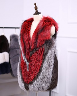 Multicolored Silver Fox Fur Vest