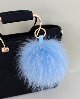 Raccoon Fur Pompoms Pendant Bag Charm