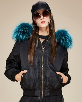 Raccoon Fur Trimmed Hooded Cotton-padded Jacket
