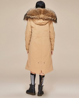 Raccoon Fur Trimmed Hooded Long Parka with Detachable Liner